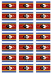 Swaziland Flag Stickers - 21 per sheet